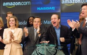 16. Jeff Bezos rings the bell to open the NASDAQ trading session on Friday, September 7, 2001