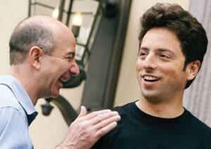 19. Jeff Bezos laughs with Google cofounder Sergey Brin at the Allen and Co. conference in Sun Valley, Idaho, in 2007
