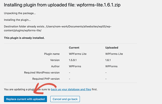 WP 5.5 install updated version