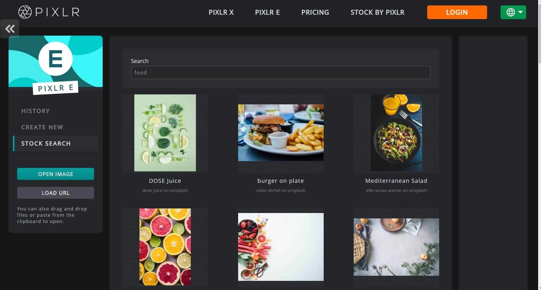 جستجو در تصاویر استوک سایت Pixlr