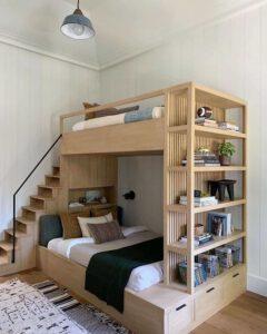 تلفیق تخت خواب دو طبقه و میز تحریر