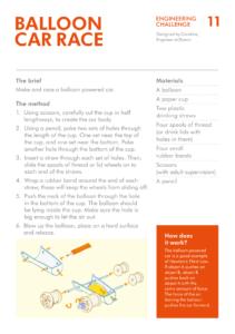 چالش ۱۱ مهندسی دایسون: اتومبیل مسابقه بادکنکی