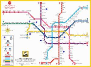 نقشه و فهرست کامل ایستگاههای متروی تهران