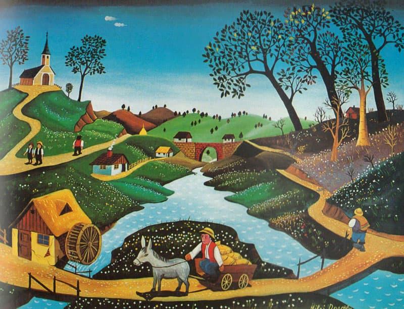 نزدیک آسیاب بادی، نقاشی در سبک هنر نائیف، اثری از میهای داسکالو